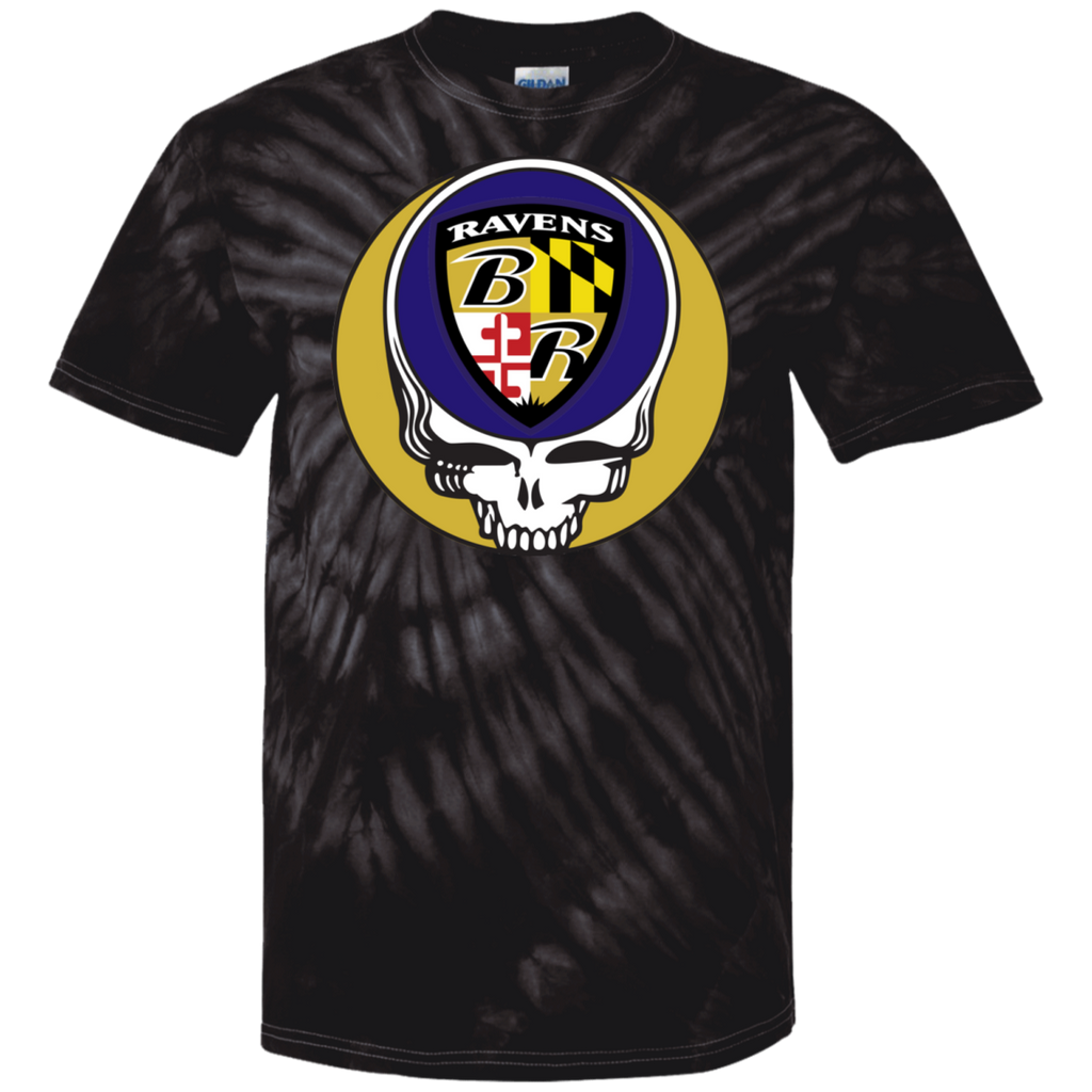 Ravens Shield Grateful Dead Steal Your Face Design Tie Dye Tee