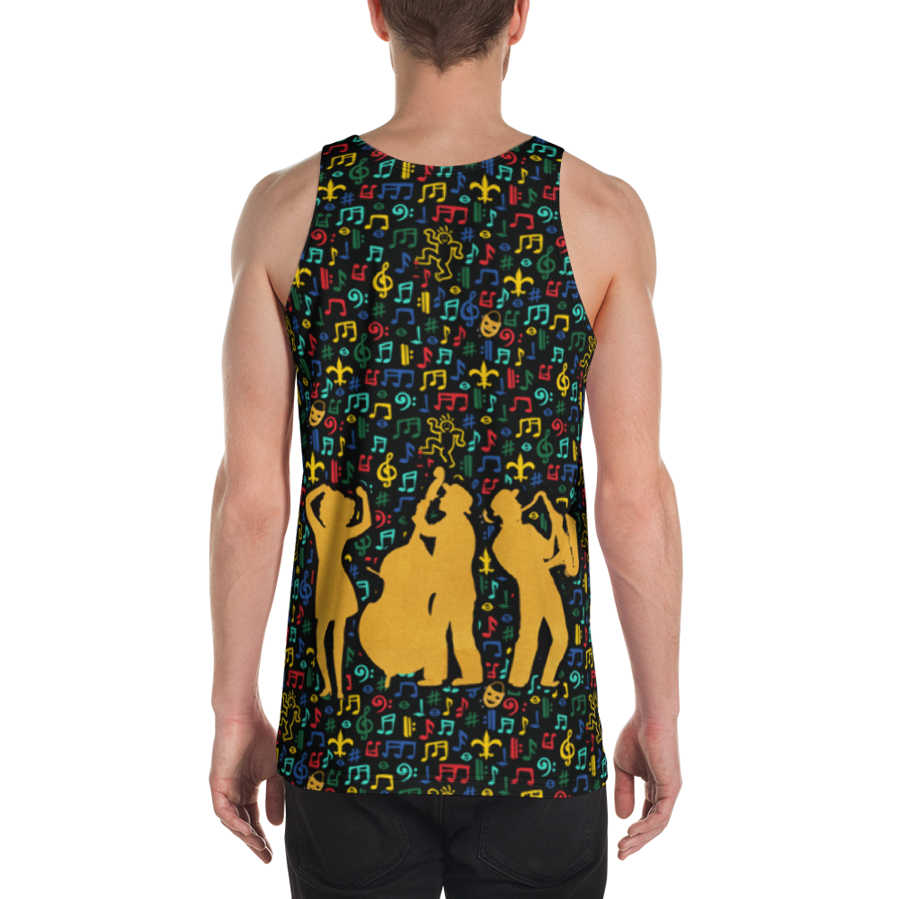 Jazz Fest 50th Anniv. Men's All-Over Print Made in the USA Tank