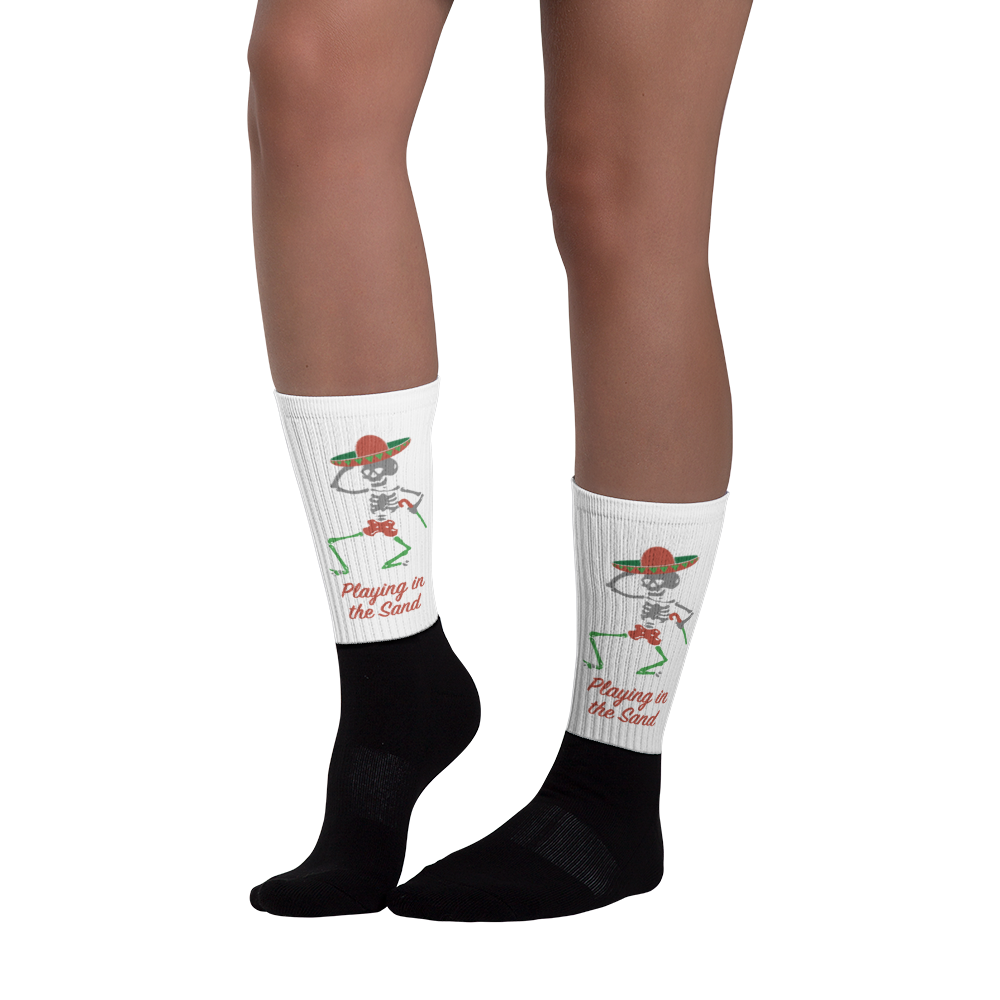 "Skully Dancer ""Playing in the Sand"" White and Black Socks"
