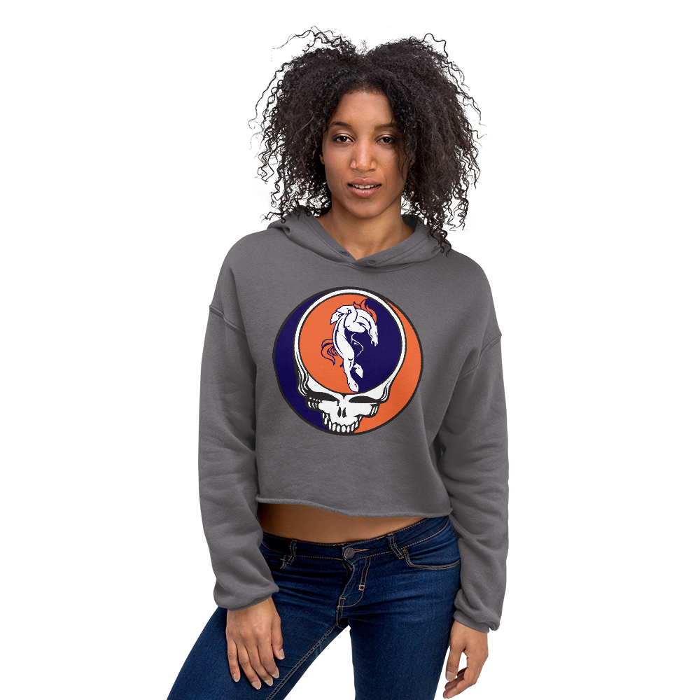 Broncos Horse Grateful Dead Design Ladies' Fleece Crop Hoodie
