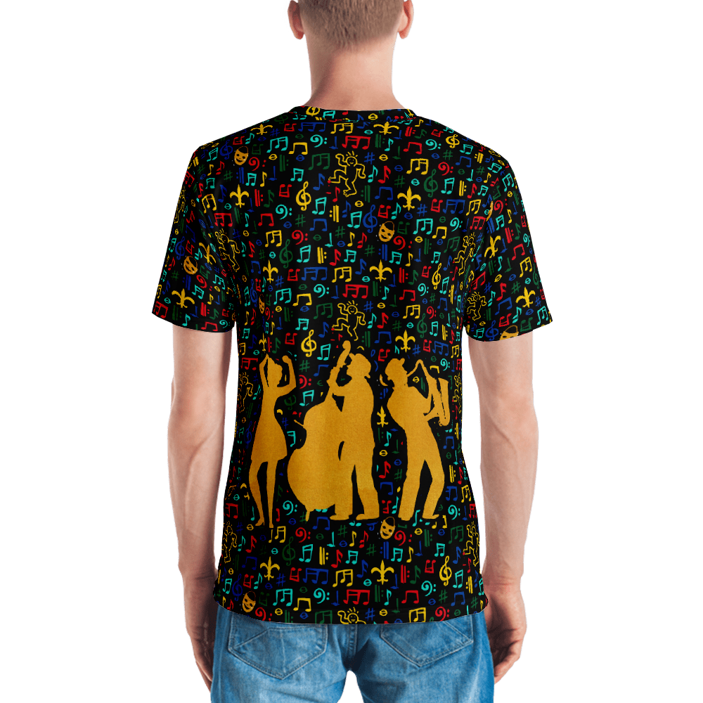 Jazz Fest 50th Anniv. Men's All-Over Print Made in the USA Tee