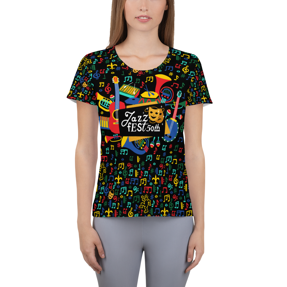 Jazz Fest 50th Anniversary Ladies' Hand Cut & Sewn Athletic Tee