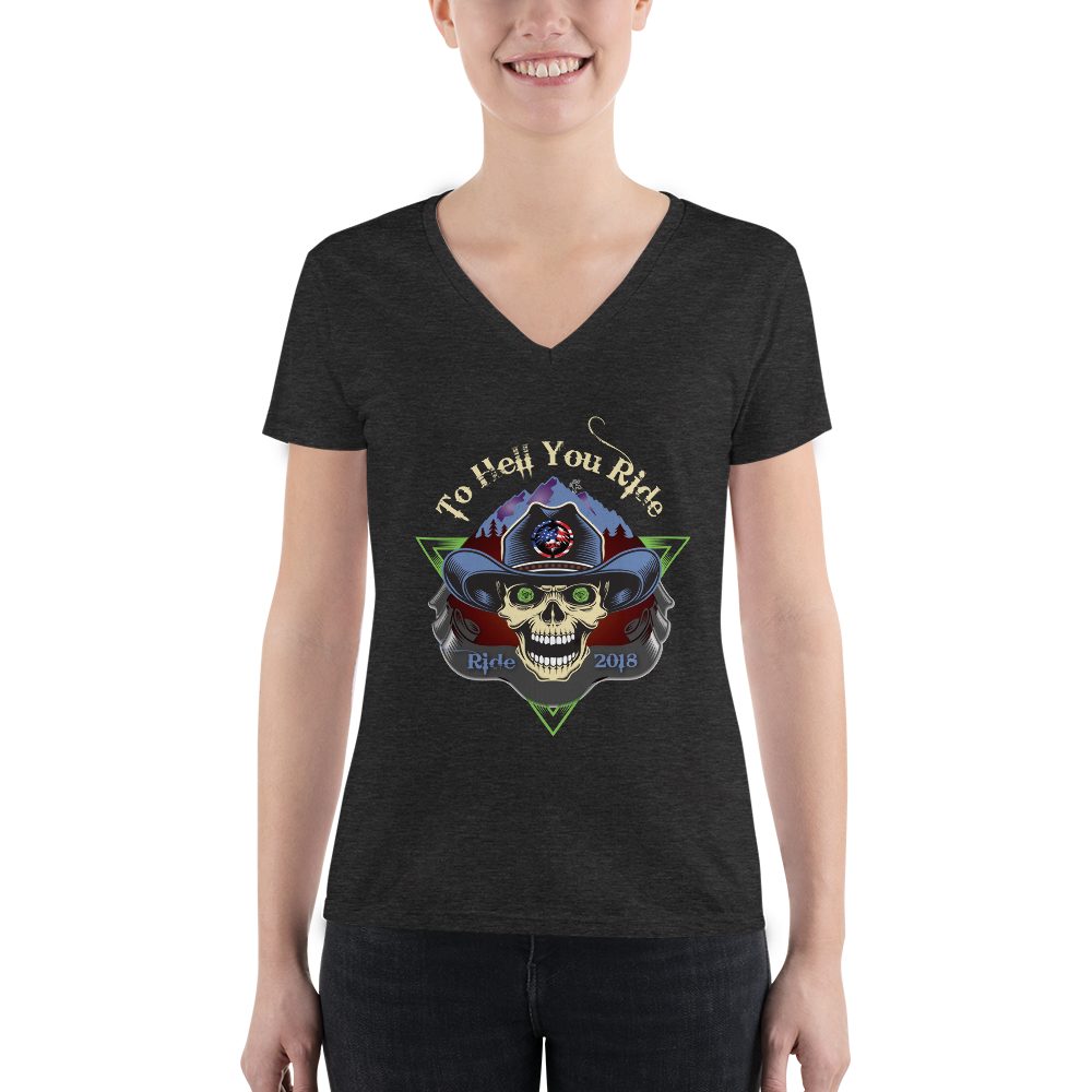 """To Hell You Ride"" USA Biker Ladies' V-Neck T-Shirt"