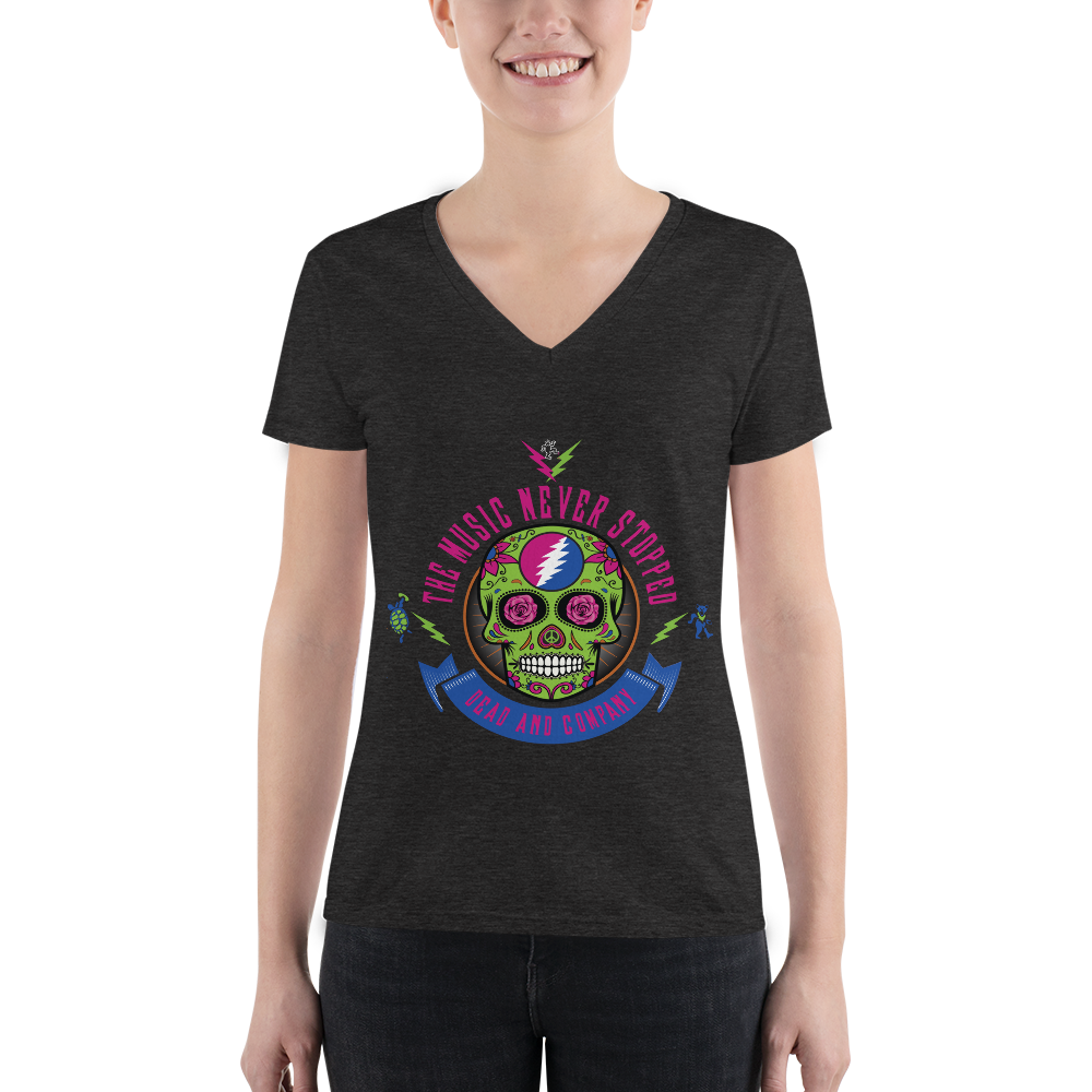 """The Music Never Stopped"" Ladies' Triblend V-Neck T-Shirt"