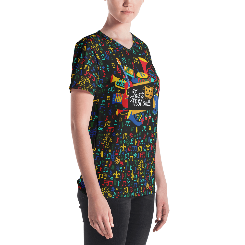 Jazz Fest 50th Anniv Ladies All-Over Print Hand Cut & Sewn V-Neck