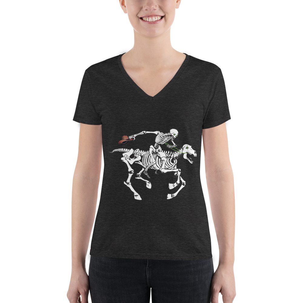 """Skully Rider"" Ladies' Triblend V-Neck T-Shirt"