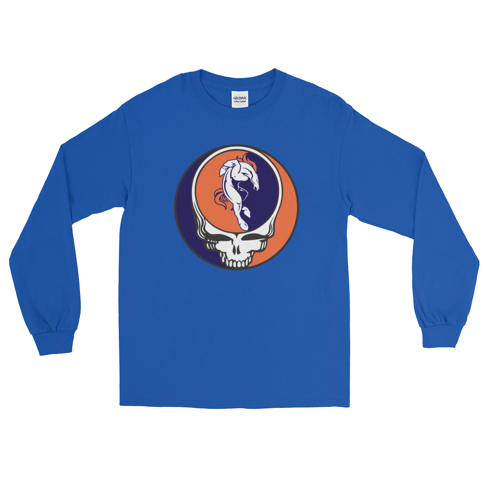 Broncos Muscle Horse Steal Your Face Design Men's Lg. Sleeve Tee