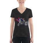 """Skully Biker"" USA Ladies' Triblend V-Neck T-Shirt"