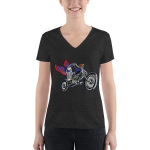 """Skully Biker"" USA Ladies' V-Neck T-Shirt"