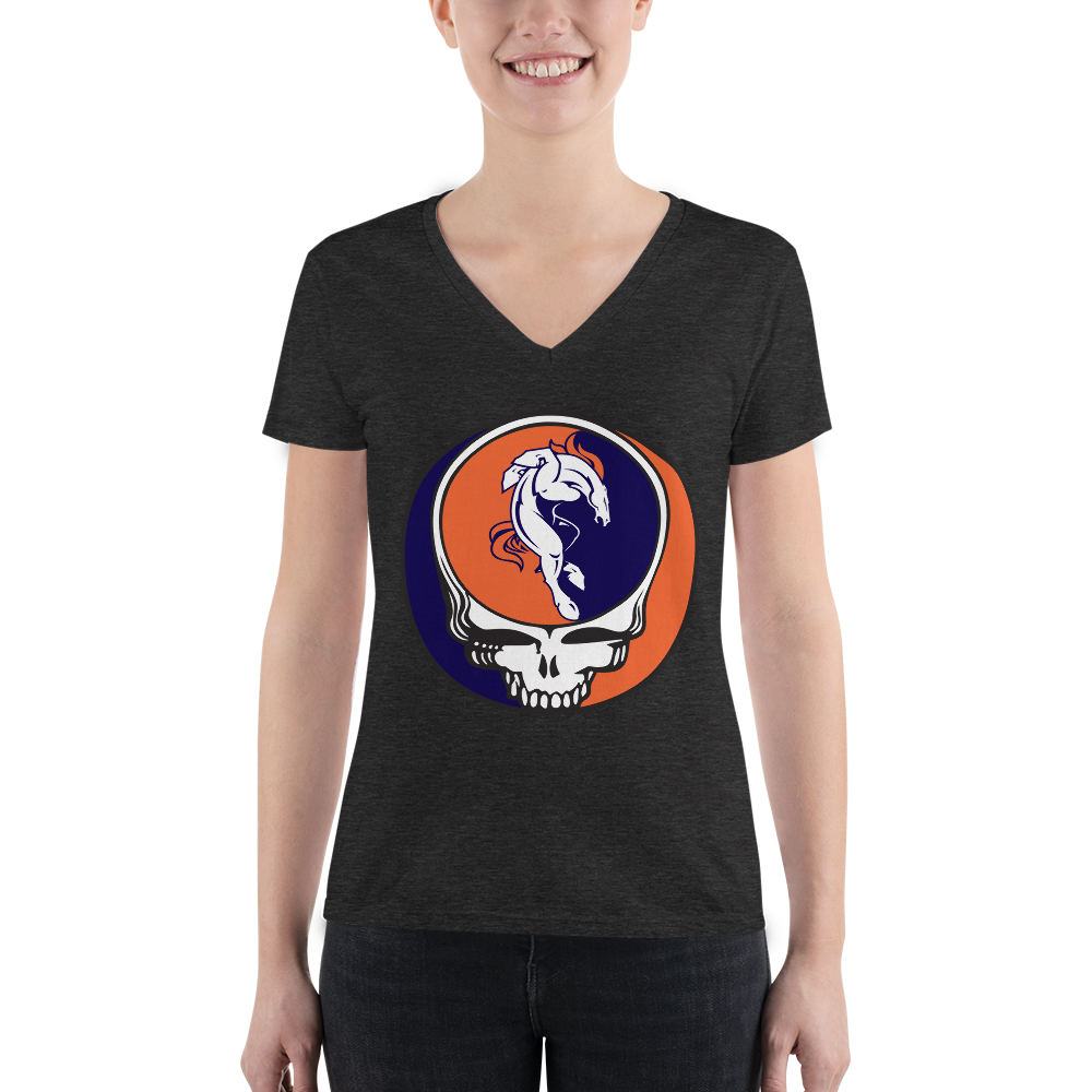 Broncos Horse Grateful Dead Design Ladies' Triblend V-Neck Tee