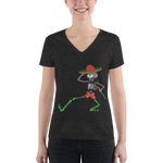 """Skully Dancer"" Ladies' Triblend V-Neck T-Shirt"