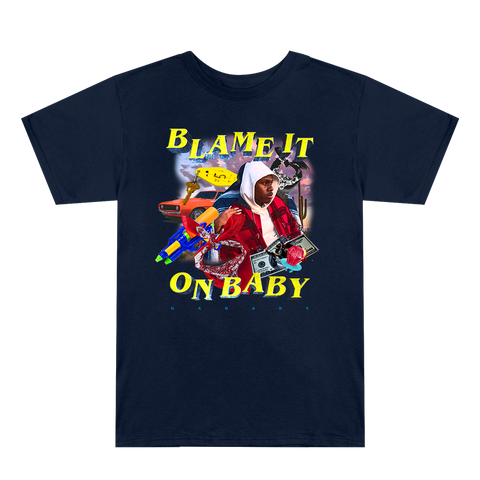Blame It On Baby Navy Blue Graphic T-Shirt