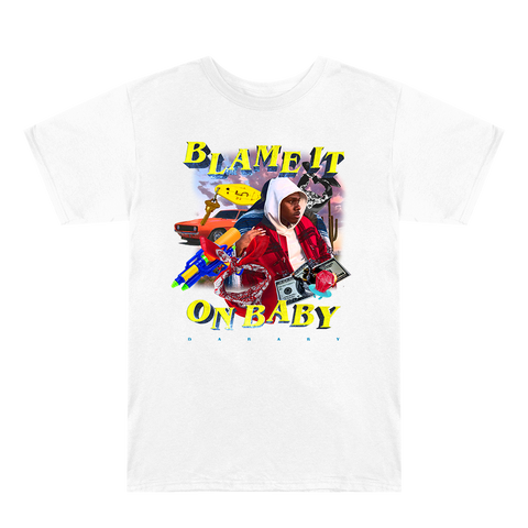 Blame It On Baby White Graphic T-Shirt