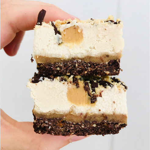 Vegan Salted Caramel PB Mousse Slice