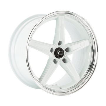 R5 White Wheel w/ Machined Lip 18x9.5 +25mm 5x120