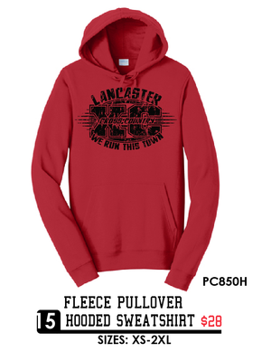 Fleece Pullover Hooded Sweatshirt - PC850H -red