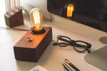 Load image into Gallery viewer, Walnut Desktop Edison Lamp (FREE SHIPPING)
