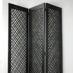 Black Wooden 3 Panel Room Divider (FREE SHIPPING)