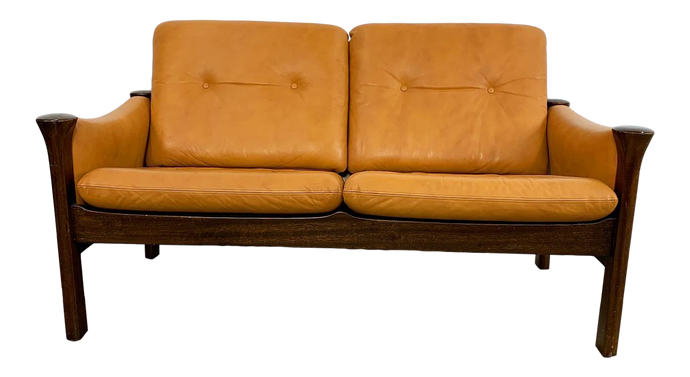 Danish Leather & Rosewood Loveseat Designed by Arne Vodder for Cado (FREE SHIPPING)