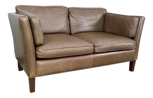 Danish Modern Leather Loveseat in the Style of Børge Mogensen (FREE SHIPPING)