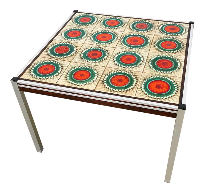 Danish Tile Top, Rosewood, & Chrome Table (FREE SHIPPING)