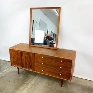 Fully Refinished Walnut Dresser & Matching Mirror Designed by Kipp Stewart for Drexel (FREE SHIPPING)