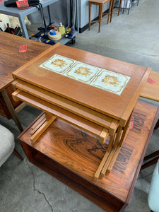 Teak and tile nesting tables