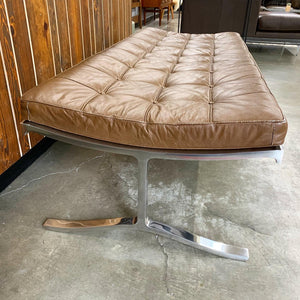 Large Leather & Chrome Daybead/Bench Designed by Nicos Zographos (FREE SHIPPING)