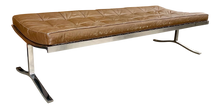 Load image into Gallery viewer, Large Leather & Chrome Daybead/Bench Designed by Nicos Zographos (FREE SHIPPING)