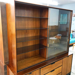 Mid Century Modern Walnut Sideboard With Hutch Top (FREE SHIPPING)