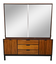 Load image into Gallery viewer, Mid Century Modern Walnut Sideboard With Hutch Top (FREE SHIPPING)