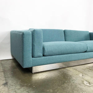 Modern Sofa With New Upholstery & a Chrome Plinth Base by Metropolitan Furniture