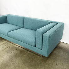 Load image into Gallery viewer, Modern Sofa With New Upholstery & a Chrome Plinth Base by Metropolitan Furniture