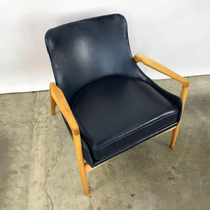 Newly Upholstered Leather Easy Chair by Ib Kofod Larsen (FREE SHIPPING)