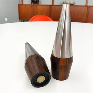 Pair of Danish Rosewood & Chrome Salt & Pepper Shakers (FREE SHIPPING)