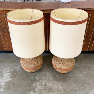 Pair of Large Mid Century Modern Cork Lamps (FREE SHIPPING)