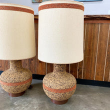 Load image into Gallery viewer, Pair of Large Mid Century Modern Cork Lamps (FREE SHIPPING)