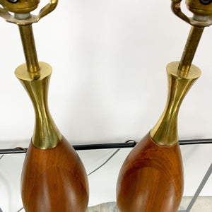 Pair of Mid Century Modern Walnut & Brass Lamps Designed by Tony Paul for Westwood Industries (FREE SHIPPING)