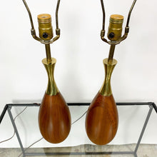 Load image into Gallery viewer, Pair of Mid Century Modern Walnut & Brass Lamps Designed by Tony Paul for Westwood Industries (FREE SHIPPING)