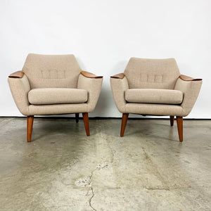 Pair of Wool Norwegian Lounge Chairs by Pi Langlos (FREE SHIPPING)