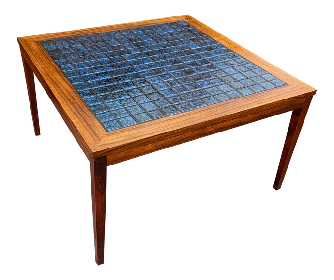 Rosewood & Blue Tile Top Danish Coffee Table (FREE SHIPPING)