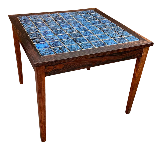 Rosewood & Tile Top Danish Side Table (FREE SHIPPING)