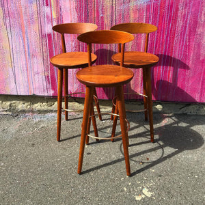 Set of 3 Danish Teak Barstools by Kurt Østervig (FREE SHIPPING)