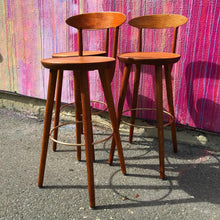 Load image into Gallery viewer, Set of 3 Danish Teak Barstools by Kurt Østervig (FREE SHIPPING)