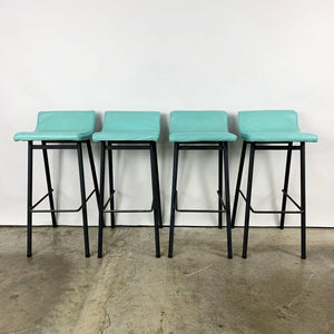 Set of 4 Barstools by Vista of California With Mint Green Upholstery (FREE SHIPPING)