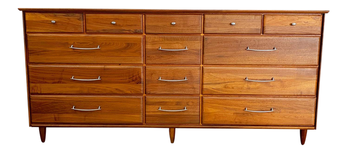 Solid Walnut 14 Drawer Mid Century Modern Dresser