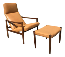 Load image into Gallery viewer, Swedish Lounge Chair & Ottoman With New Leather Upholstery (FREE SHIPPING)