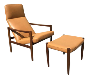 Swedish Lounge Chair & Ottoman With New Leather Upholstery (FREE SHIPPING)