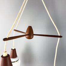 Load image into Gallery viewer, Teak & Glass Danish 3 Tier Pendant Lamp (FREE SHIPPING)
