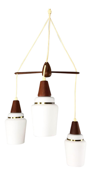 Teak & Glass Danish 3 Tier Pendant Lamp (FREE SHIPPING)
